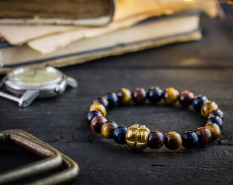 8mm - Blue, Red and brown tiger eye beaded stretchy bracelet with gold grenade bead, mens bracelet, mens beaded bracelet, casual bracelet
