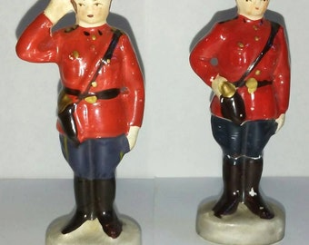 Vintage 40's Canadian Mountie Salt & Pepper Shaker Set