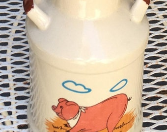 Vintage Milk Can Pottery, farmhouse utensil holder, hungry pig pattern jug kitchenware, cooking utensil storage container