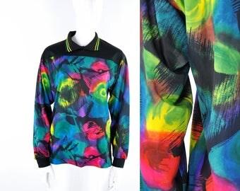 90s Sporty Abstract Print Shirt Rainbow Paint Stroke Soccer Football Goalie Long Sleeve Top Collar Allover Cyber Techno Gabber Colorful Bold