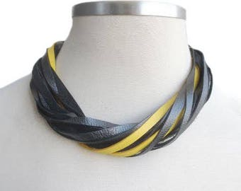 Black Yellow Leather Necklace, String Layered Statement Necklace, Leather Jewelry, Shiny Leather Bib Necklace