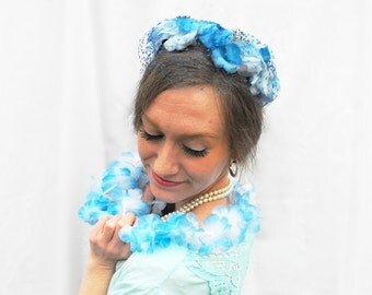 1950s Floral Forget-Me-Not Hat Vintage Bridal Veil Something Blue Flowers Veiled Wedding Millinery Bride Fascinator Pillbox & Retro Teal Box