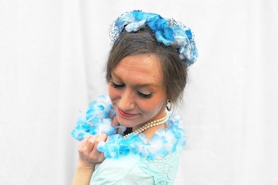 1950s Floral Forget-Me-Not Hat Vintage Bridal Veil Something Blue Flowers Veiled Wedding Millinery Bride Fascinator Pillbox & Retro Teal Box