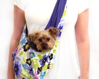 Purple and Green Floral Dog Sling/ Pet Pouch/ Pet Carrier: Daisy Craze