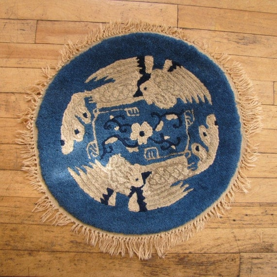 Early 1900's Small Chinese Rug Mat, 1900's, Chinese, Asian, Small Rug, Mat, Wool, Blue, Bird, Crane, Round, Hand Knotted, Decretive