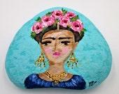 Frida Kahlo stone hand painted inspirational rock garden decor home decor paperweight