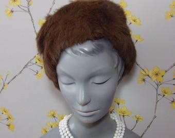1960s Vintage Brown Rabbit Fur And Velvet Hat Toque Real Fur Hat Russian Style Hat