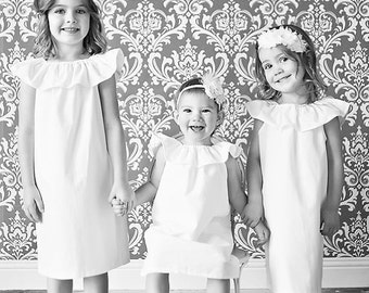 Girls Dress, white ivory dress, flower girl dress, sisters photoshoot dress, solid white, shelby jane, spring summer flower girl, easter