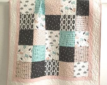 Patchwork Baby Girl Quilt Bonne Nuit By Camelot Design Studio Pink Aqua Grey White