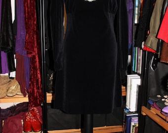 Black Velvet-Rich Black Velvet 60's Edwardian Shift Dress with Cream Lace Ascot/Bib
