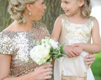 Gold Sequin Flower Girl dress With Tulle,Gold Ivory Tulle Flower Girl ,Wedding Dress,Ball Gown,Gold glitter