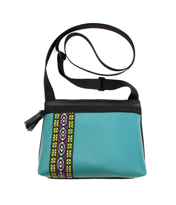 Turquoise vinyl, vintage trim, tassel, boxy cross body, vegan leather, zipper top