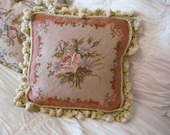 Vintage Needlepoint Pink Rose Feather Filled Pillow French Country Aubusson Tassel Fringe