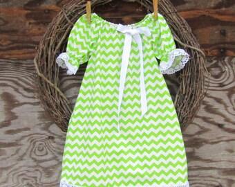 Girls Green Dress, Kids Summer Dress, Girls Summer Dress, Girls Lace Trimmed Dress