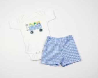 Boys Easter Bodysuit - Easter Outfit for Toddler Boy - Baby Boy Easter Set - Easter Egg Wagon Applique Shirt - Gingham Shorts - Easter Baby