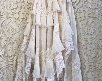 blush cream & eggshell accordion pleat ruffles lace boho wedding dress by mermaid miss Kristin