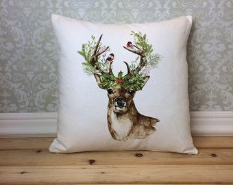 Christmas Deer Pillow Cover, Watercolor Deer Pillow, Christmas Pillow, Holiday Pillow, Christmas Home Decor, Holiday Decor, Reindeer Pillow
