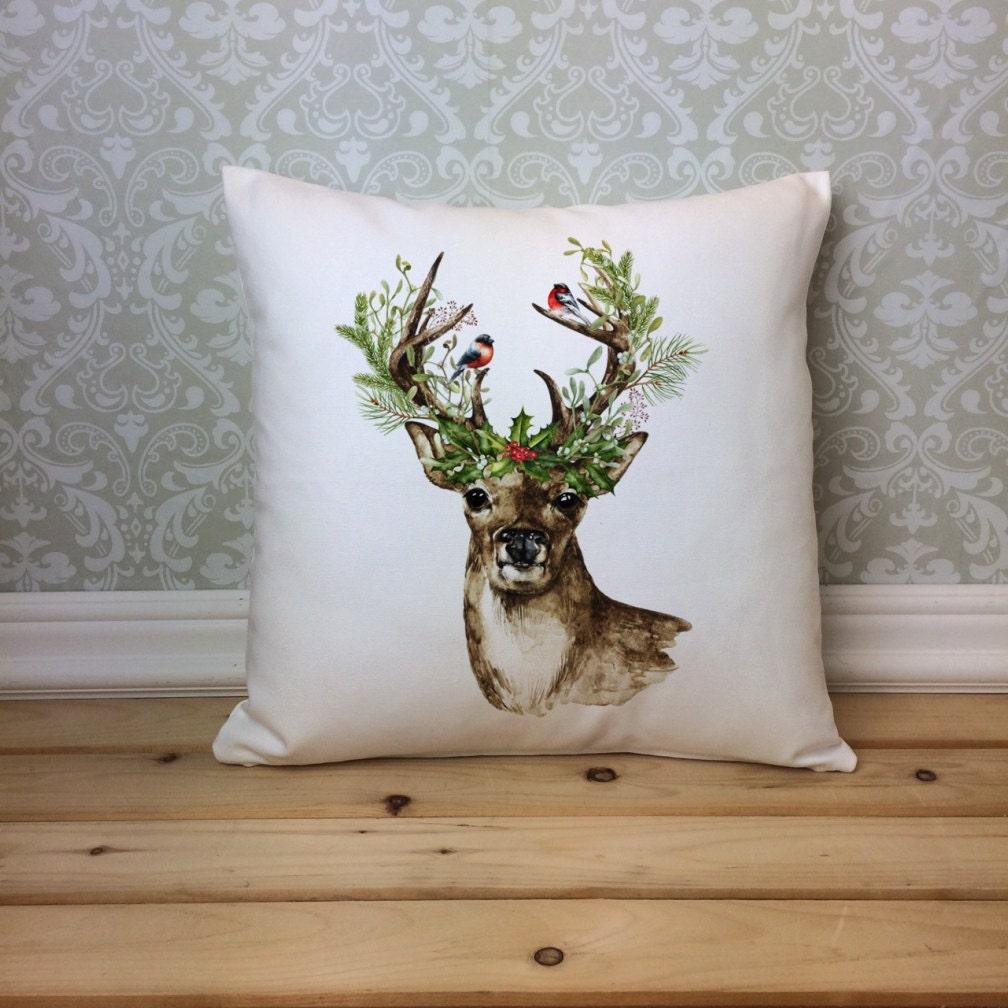 Christmas Deer Pillow Cover Watercolor Deer Pillow Christmas