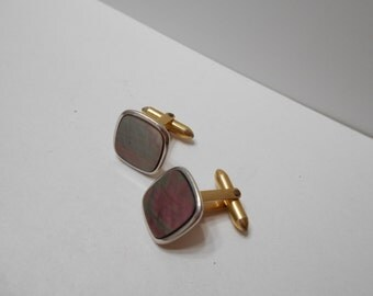 Vintage Abalone Cuff Links (8174) 1/20 14KGF--Signed