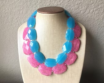 Pink & Teal Necklace, multi strand jewelry, big beaded chunky statement necklace, pink necklace, bridesmaid necklace, blue necklace
