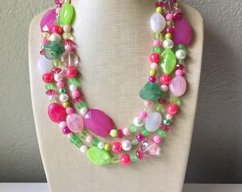 Pink Green Chunky Statement Necklace, Big beaded jewelry, Triple Strand bib chunky Necklace, pink green white jewelry, beaded jewelry