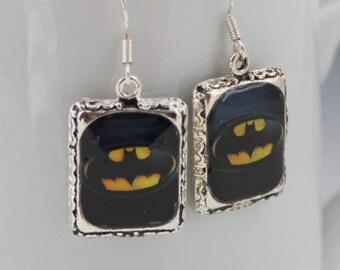 Batman Superhero Earrings Jewelry Silver 3D Dimensional Picture Earrings
