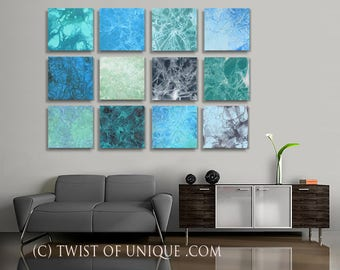 Ocean storm Watercolor painting/ Custom Art / 12  set of paintings / 15x15 (45x60) / Abstract painting / Dark blue, dark green, black