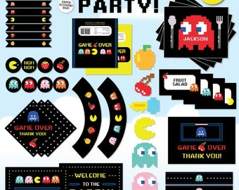Pacman 80s Party Decorations, Pacman Party Mega Pack, Pacman Decor, Pacman Favor Tags, Pacman Candy Wrappers, Pacman Arcade Party Invitation