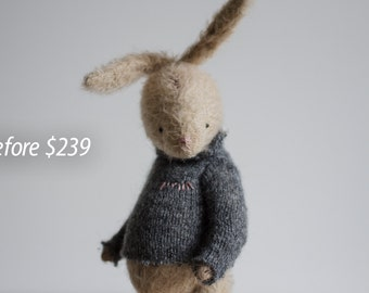 SALE 25% OFF Rabbit Toy Bunny Stuffed Animal Knitted Sweater Pink Nose Gift For Her 8 Inches FREE Shipping