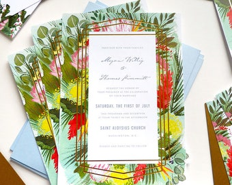 Gold foil hand painted tropical DC custom wedding stationery