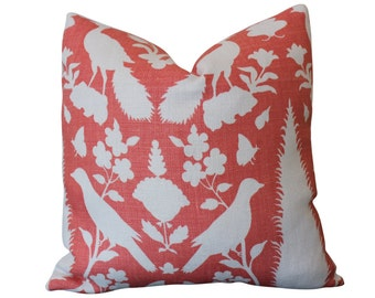 Chenonceau Bird Schumacher Designer Pillow Cover in Coral