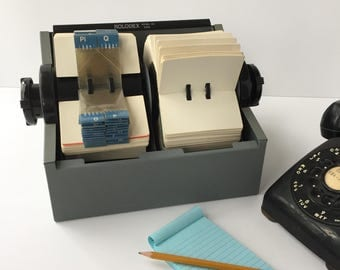 Huge Rolodex 2400, Vintage Double Rolodex Card File, Rotary Card Filing System, Blank Cards & Alpha Dividers, Business Contact File