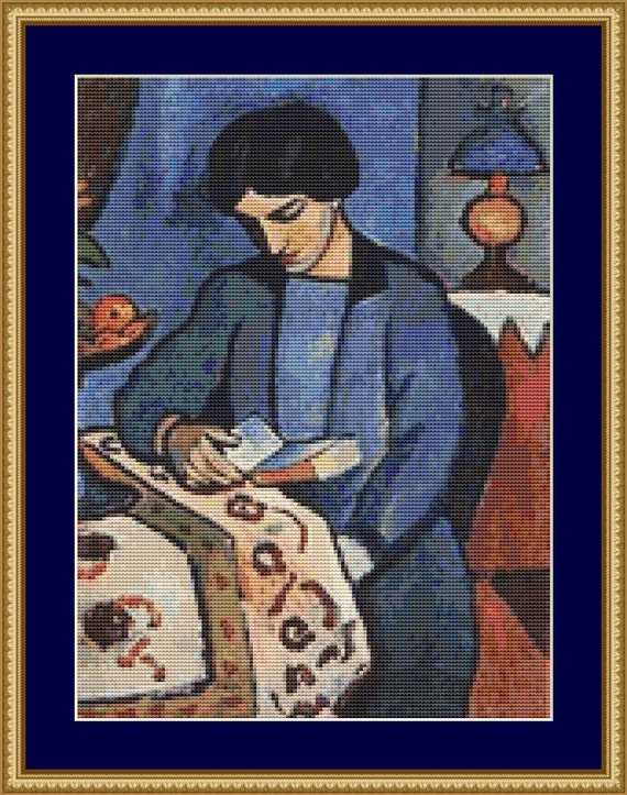 Blue Girl Reading Cross Stitch Pattern /Digital PDF Files /Instant downloadable