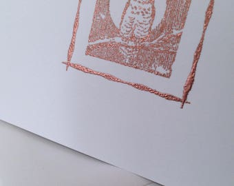 Embossed, OWL, Copper, Handmade, White, Folded Card and Envelope, Blank, Message, Square Border