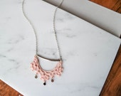 Lace necklace, blush pink and silver, minimal necklace vintage inspired