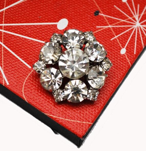 Rhinestone Atomic Brooch - Clear  Crystal - silver metal - Snowflake pin