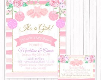 Attractive Ballerina Tutu Baby Shower / Birthday Pink And Gold Floral Invitation   Printable File