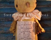 E-PATTERN PDF Instant Download Extreme Primitive Folk Art Early Vintage Style Spring Easter Chick Doll Repro Feed Sack Sweetpeas Primitives