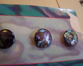 "Set of 6 Pretty Vintage 5/8"" Iridescent Genuine Pearl Abalone Shell Buttons Turquoise, Greens & Purples  (1689)"