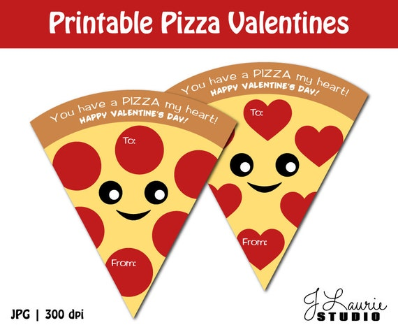 Digital Clipart-Printable Pizza Valentines-Printable Valentine