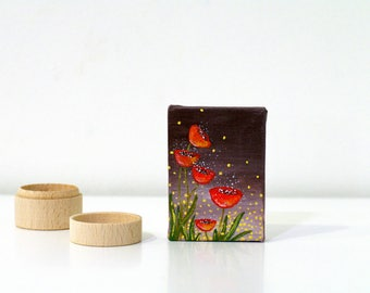 Red poppies Small acrylic painting on canvas Brown and Red mini canvas painting Flowers gifts for Mom's birthday Small canvas art