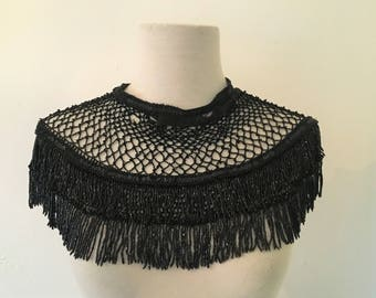 Antique 1910s Black Collar with Jet Beads and Sequins  | Victorian Era Beaded Collar | Edwardian Mourning Collar ON VACATION
