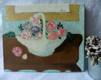 Vintage Tableau Painting Oil on Canvas The Floral Basket, flowers, Nabis, Impressionism, Art, Roses, Shabby, France, Naive, Romantic,Bouquet