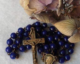 Antique French Catholic Navy Blue Glass Chapelet Rosary, Virgin, Lourdes, Devotion, Jesus, Christ, Mary, Religious, Crucifix, Cross, chaplet