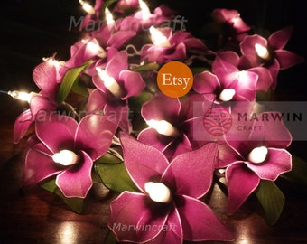 Battery or Plug 20 Purple Orchid Flower Fairy String Lights Floral Party Patio Wedding Garland Gift Home Living Bedroom Holiday Decor 3.5m