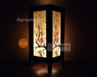 Asian Oriental Japanese Sakura Tree Branch Cherry Blossom Zen Art Bedside Table Lamp or Bedside Wood Paper Light Shades Furniture Home Decor