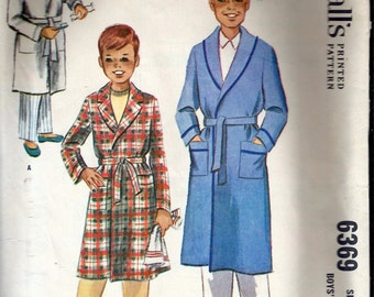 Vintage 1962 McCall's 6369 Boys' Robe Sewing Pattern Size 14 Chest 32""