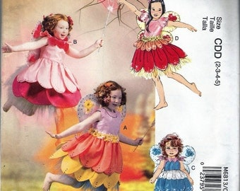"""2013 McCall's M6813 Girl's Fairy Costumes Sewing Pattern Size C 2-3-4-5 Breast 21""""-22""""-23""""-24' UNCUT"""