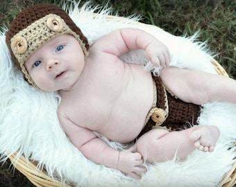 Crochet Photo Prop, Aviator Costume, Pilot Costume, Aviator Outfit, Pilot Outfit, Outfits for Boys, Gifts for Boys, Baby Shower Gifts