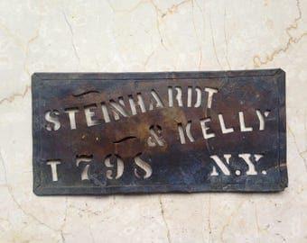 Antique Brass Stencil, Steinhardt & Kelly, Antique Crate Stecil, New York City, Industrial Stencil, Advertising Stencil